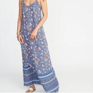 Blue floral maxi v neck dress